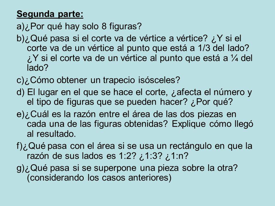 Segunda parte: a)¿Por qué hay solo 8 figuras.b)¿Qué pasa si el corte va de vértice a vértice.