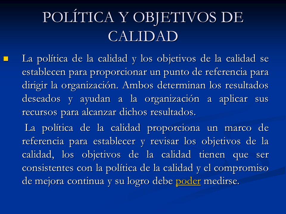 POLÍTICA Y OBJETIVOS DE CALIDAD La política de la calidad y los objetivos de la calidad se establecen para proporcionar un punto de referencia para di