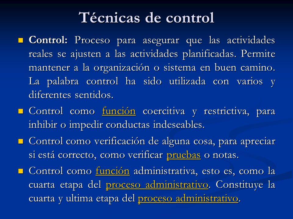 Control: Proceso para asegurar que las actividades reales se ajusten a las actividades planificadas. Permite mantener a la organización o sistema en b