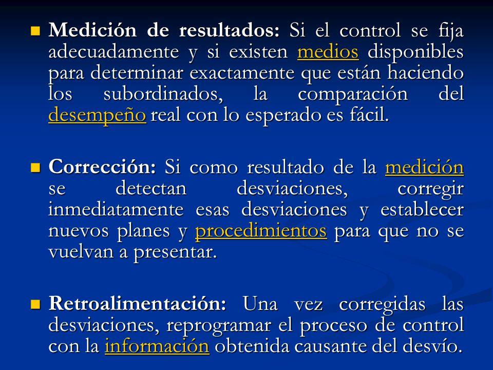 Medición de resultados: Si el control se fija adecuadamente y si existen medios disponibles para determinar exactamente que están haciendo los subordi