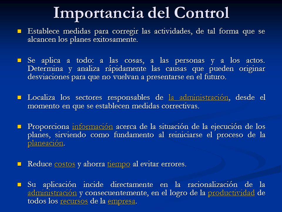 Importancia del Control Establece medidas para corregir las actividades, de tal forma que se alcancen los planes exitosamente. Establece medidas para