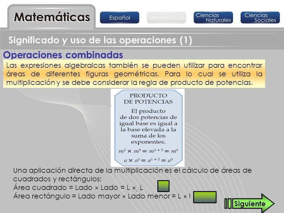 Significado y uso de las operaciones (1) Operaciones combinadas Las expresiones algebraicas también se pueden utilizar para encontrar áreas de diferen