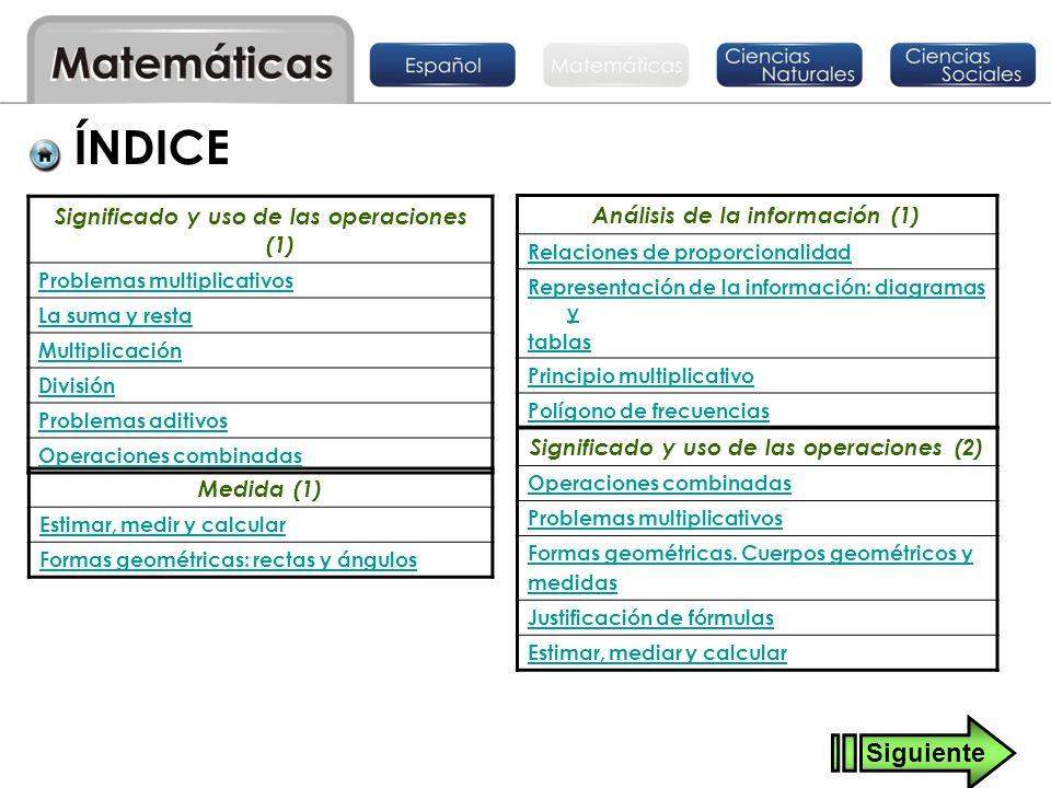 Medida (1) Estimar, medir y calcular Formas geométricas: rectas y ángulos Significado y uso de las operaciones (1) Problemas multiplicativos La suma y