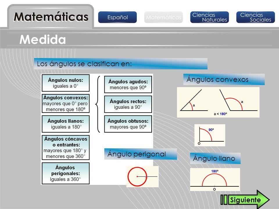 Medida Los ángulos se clasifican en: Ángulos convexos Ángulo llano Ángulo perigonal Siguiente