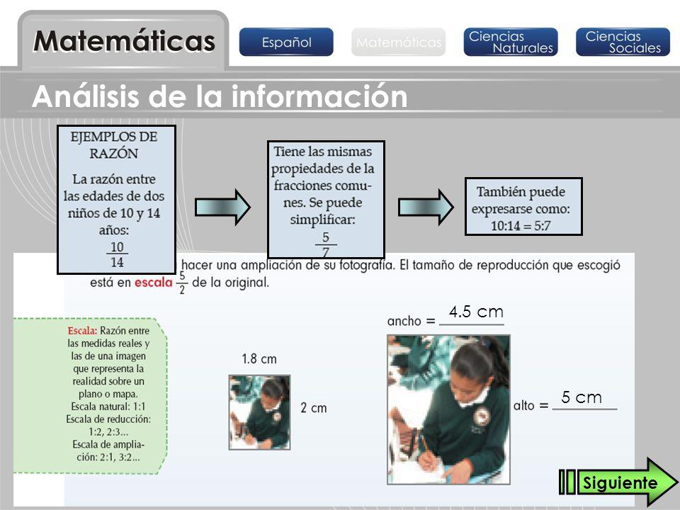 4.5 cm 5 cm Siguiente Análisis de la información