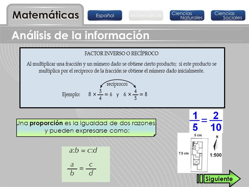 Una proporción es la igualdad de dos razones, y pueden expresarse como: Siguiente Análisis de la información
