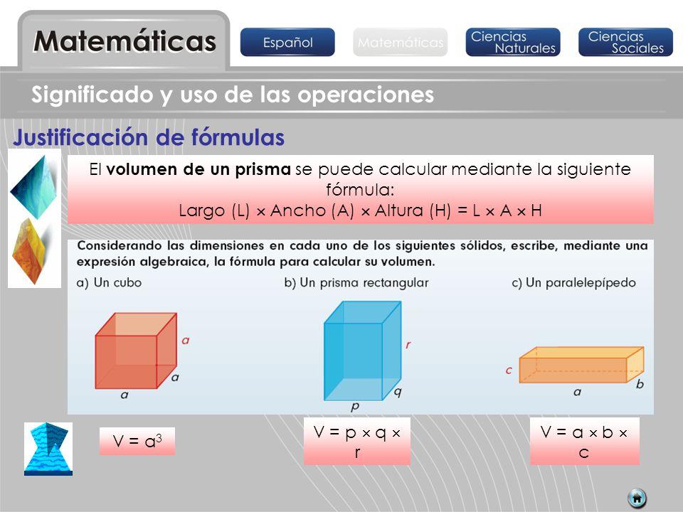 Justificación de fórmulas El volumen de un prisma se puede calcular mediante la siguiente fórmula: Largo (L) Ancho (A) Altura (H) = L A H V = a 3 Sign