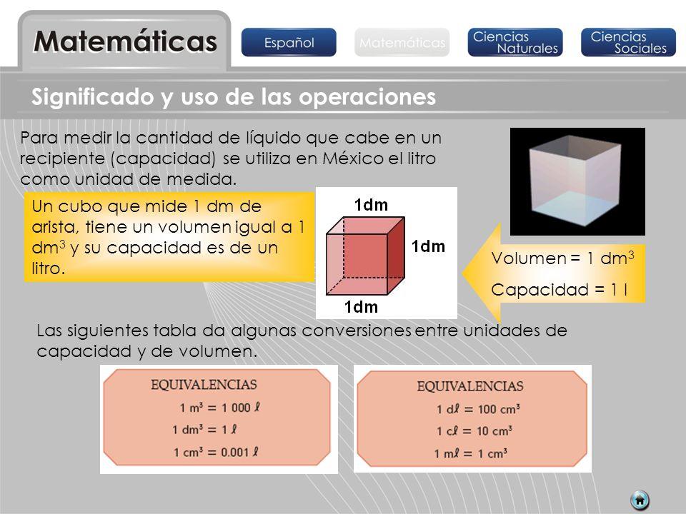 Significado y uso de las operaciones Para medir la cantidad de líquido que cabe en un recipiente (capacidad) se utiliza en México el litro como unidad