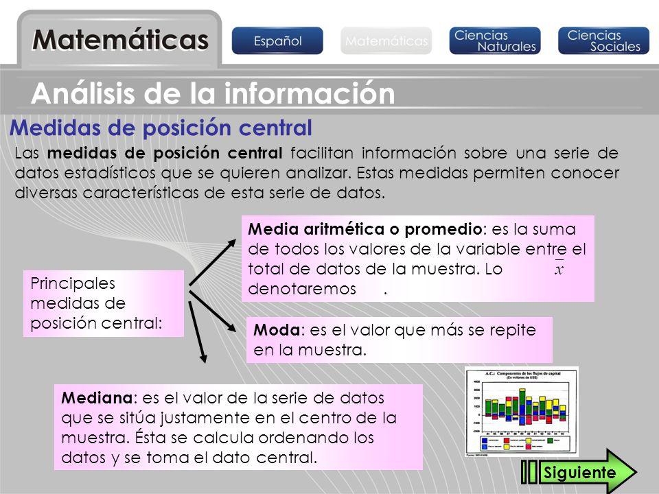 Moda : es el valor que más se repite en la muestra. Las medidas de posición central facilitan información sobre una serie de datos estadísticos que se