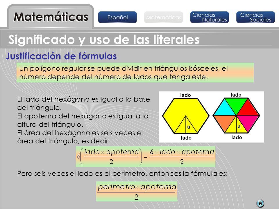 Un polígono regular se puede dividir en triángulos isósceles, el número depende del número de lados que tenga éste. Pero seis veces el lado es el perí