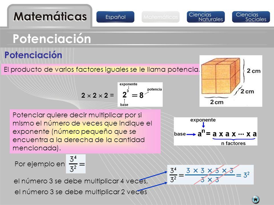Potenciación Potenciar quiere decir multiplicar por si mismo el número de veces que indique el exponente (número pequeño que se encuentra a la derecha
