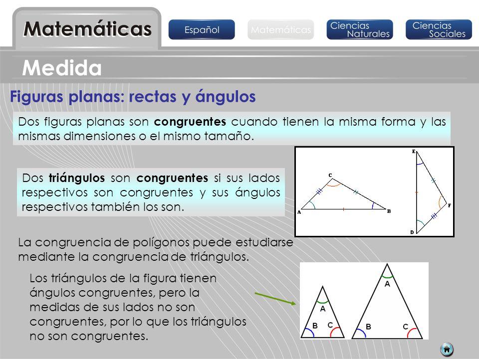 Figuras planas: rectas y ángulos Dos figuras planas son congruentes cuando tienen la misma forma y las mismas dimensiones o el mismo tamaño. Dos trián