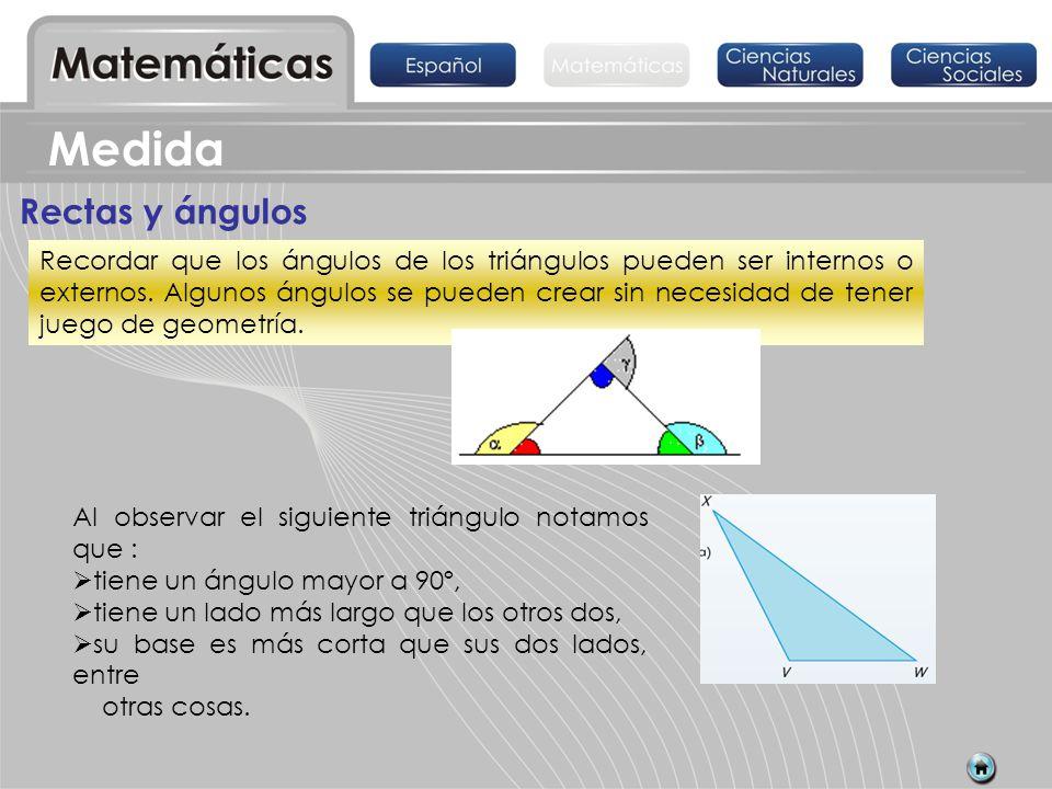 Rectas y ángulos Al observar el siguiente triángulo notamos que : tiene un ángulo mayor a 90º, tiene un lado más largo que los otros dos, su base es m