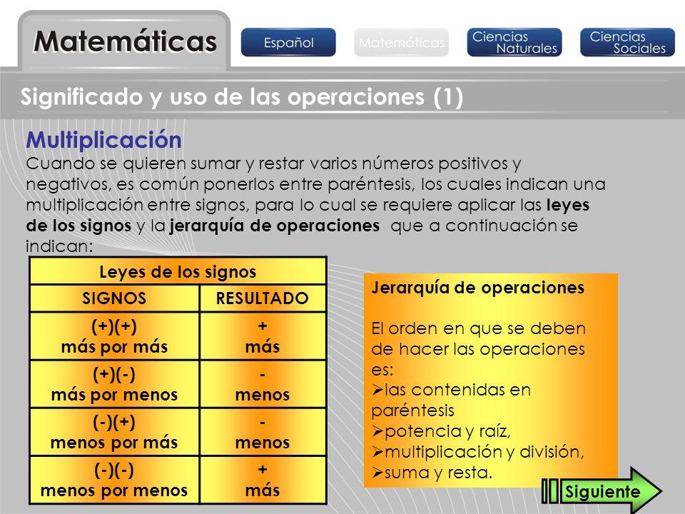 Significado y uso de las operaciones (1) Hay que recordar que si a un paréntesis lo antecede un signo – (menos), todos los términos contenidos en él cambian de signo: -(a - b) = -a + b -(-c + d) = c - d Ejemplo: -(-3 + 4 – 5 + 8) = 3 – 4 + 5 – 8 = -4 No olvidar que la multiplicación es una suma abreviada: De esta manera, la multiplicación se puede descomponer en sumandos: (-2) + (-2) + (-2) + (-2) = (-2) (4) = - 8 (+4) + (+4) + (+4) = (+4) (3) = +12 y agrupar sumandos iguales 3n = n + n + n a + a + a + a = 4a