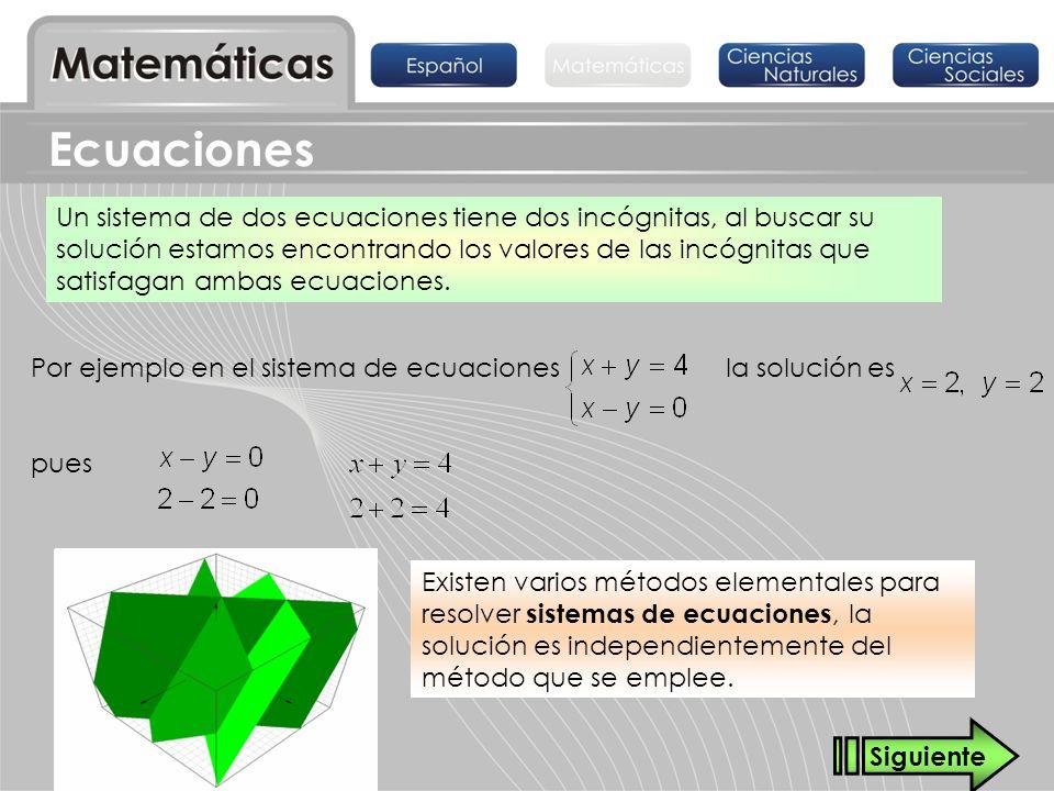 Un sistema de dos ecuaciones tiene dos incógnitas, al buscar su solución estamos encontrando los valores de las incógnitas que satisfagan ambas ecuaci