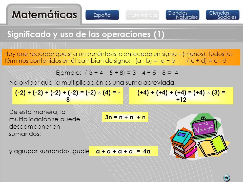 División Significado y uso de las operaciones (1) La multiplicación y la división son operaciones inversas, por ejemplo 4 7 = 28 28 4 = 7.