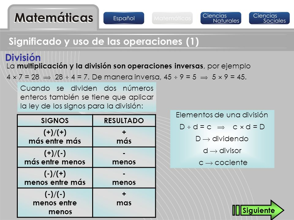 División Significado y uso de las operaciones (1) La multiplicación y la división son operaciones inversas, por ejemplo 4 7 = 28 28 4 = 7. De manera i