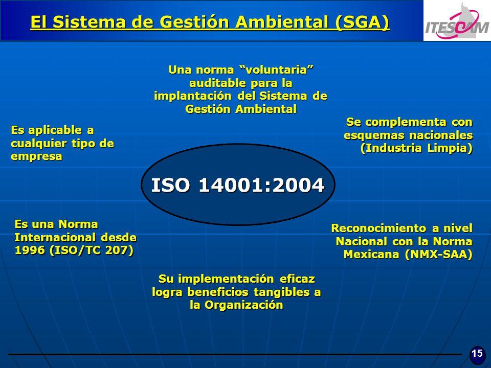 15 ISO 14001:2004 Una norma voluntaria auditable para la implantación del Sistema de Gestión Ambiental Es una Norma Internacional desde 1996 (ISO/TC 2
