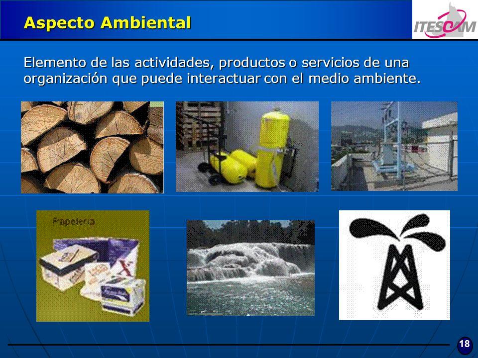 18 Aspecto Ambiental Elemento de las actividades, productos o servicios de una organización que puede interactuar con el medio ambiente.