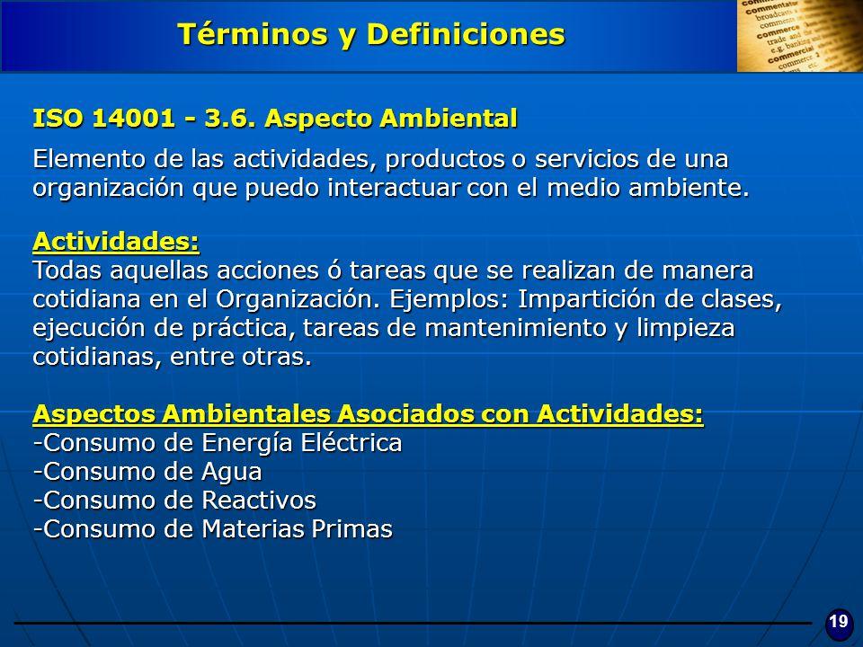 19 ISO 14001 - 3.6. Aspecto Ambiental Elemento de las actividades, productos o servicios de una organización que puedo interactuar con el medio ambien