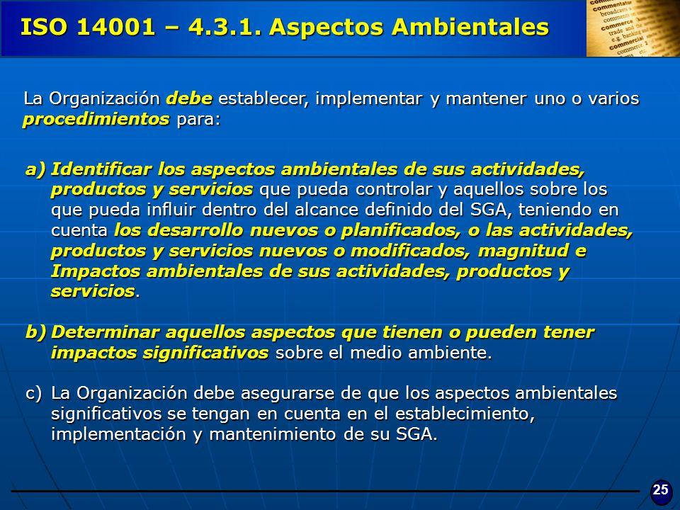 25 ISO 14001 – 4.3.1. Aspectos Ambientales a)Identificar los aspectos ambientales de sus actividades, productos y servicios que pueda controlar y aque