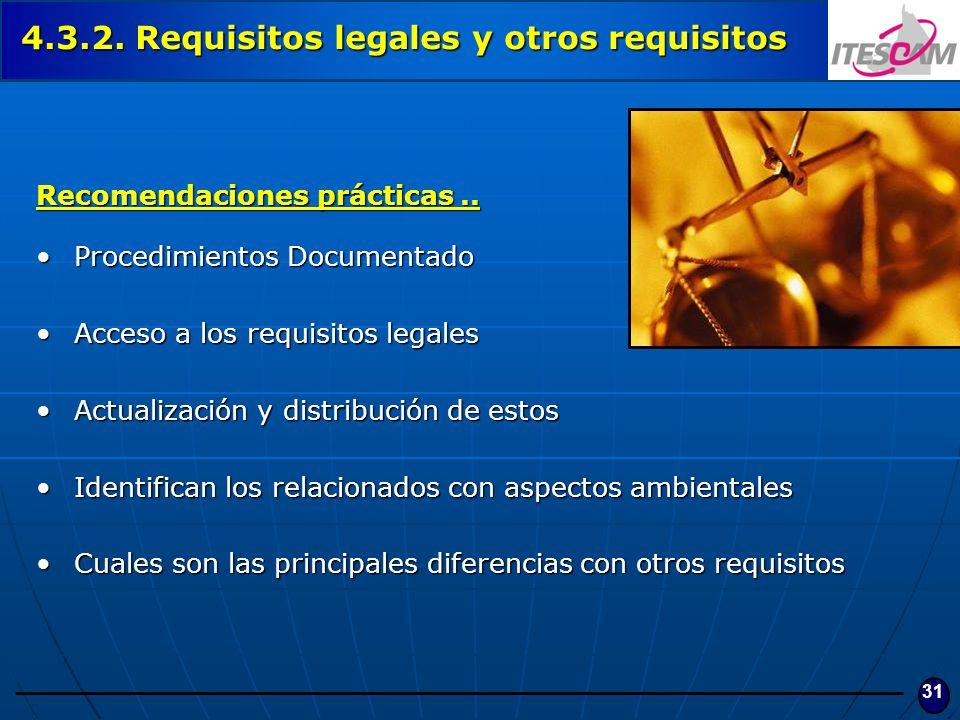31 Recomendaciones prácticas.. Procedimientos DocumentadoProcedimientos Documentado Acceso a los requisitos legalesAcceso a los requisitos legales Act
