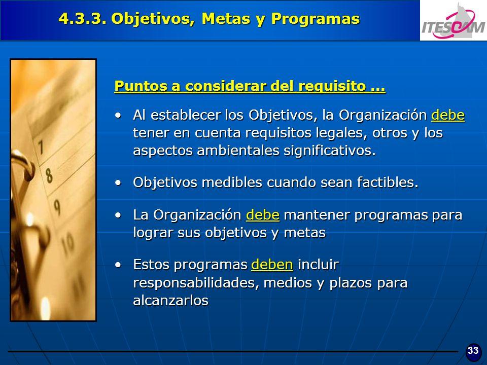 33 4.3.3. Objetivos, Metas y Programas Puntos a considerar del requisito... Al establecer los Objetivos, la Organización debe tener en cuenta requisit