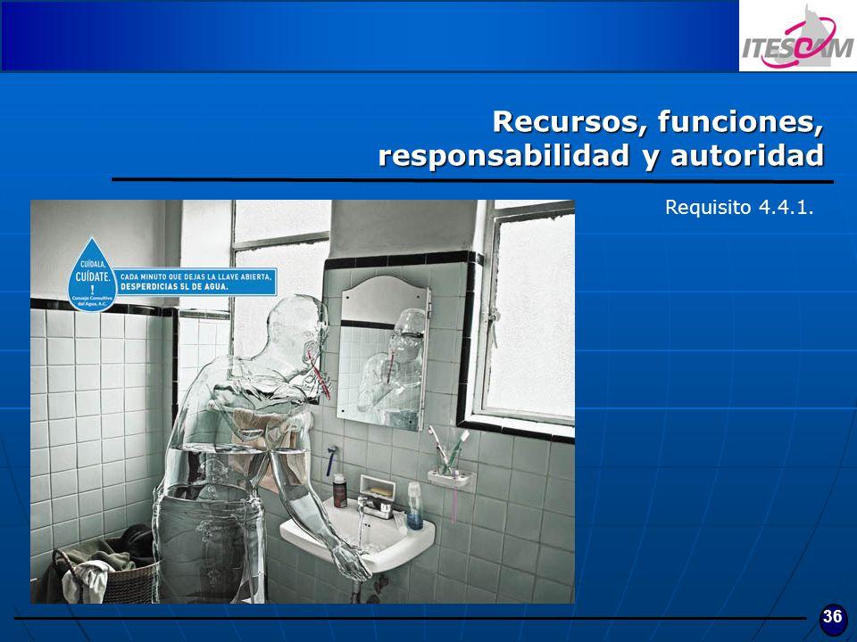 36 Recursos, funciones, responsabilidad y autoridad Requisito 4.4.1.