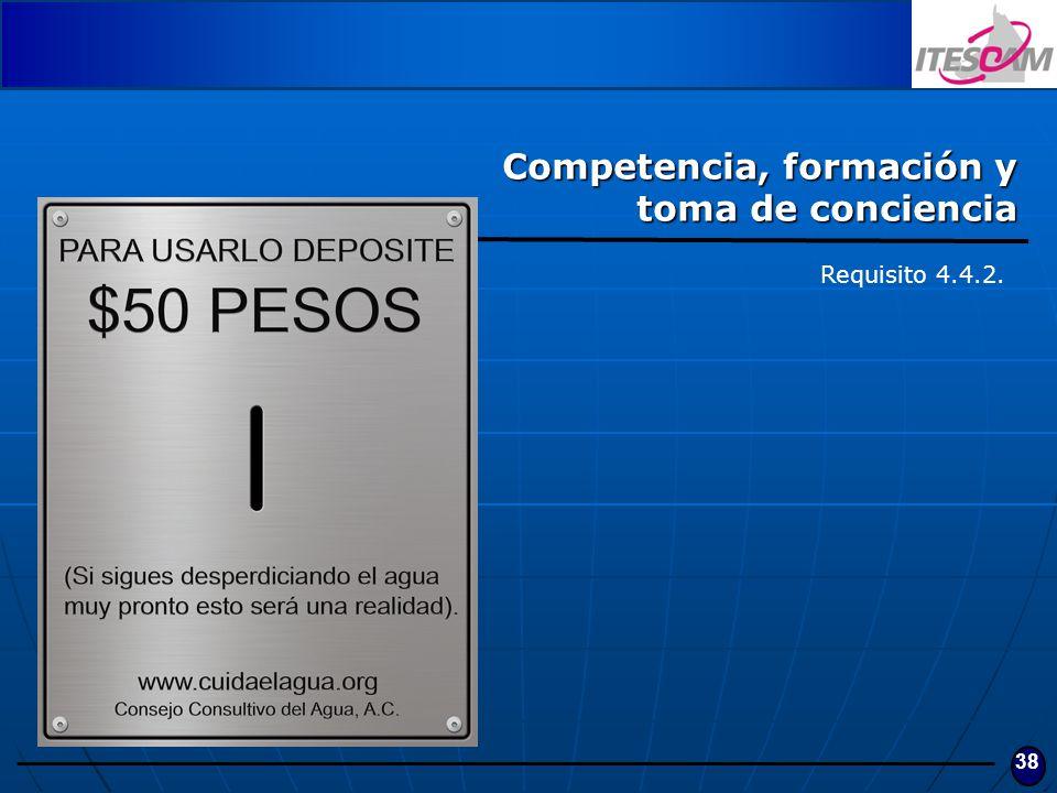 38 Competencia, formación y toma de conciencia Requisito 4.4.2.