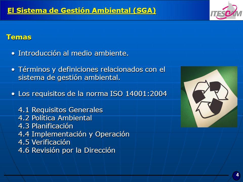 4 El Sistema de Gestión Ambiental (SGA) Temas Introducción al medio ambiente.Introducción al medio ambiente. Términos y definiciones relacionados con
