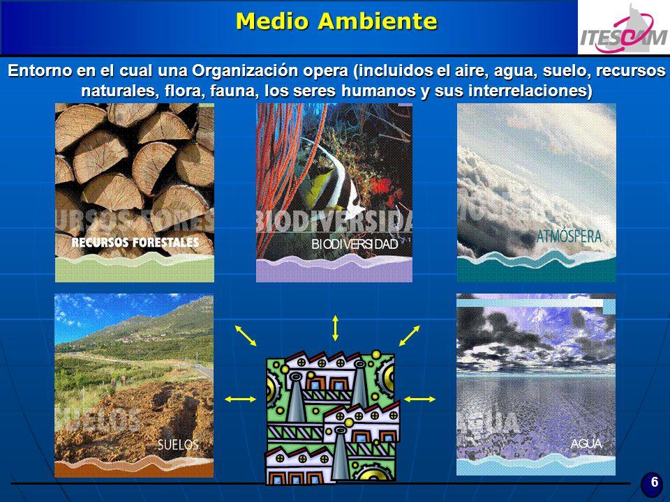 6 Medio Ambiente Entorno en el cual una Organización opera (incluidos el aire, agua, suelo, recursos naturales, flora, fauna, los seres humanos y sus