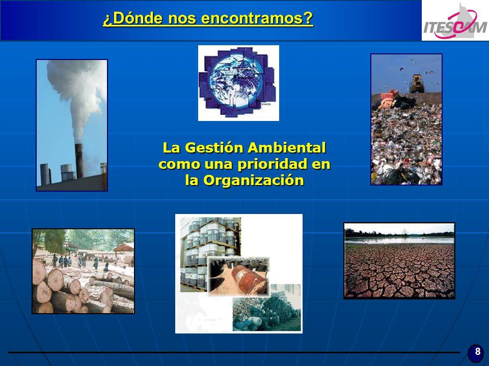 8 ¿Dónde nos encontramos? La Gestión Ambiental como una prioridad en la Organización