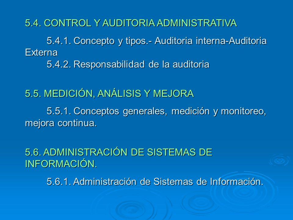 5.4. CONTROL Y AUDITORIA ADMINISTRATIVA 5.4.1. Concepto y tipos.- Auditoria interna-Auditoria Externa 5.4.2. Responsabilidad de la auditoria 5.4.1. Co