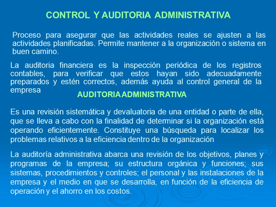 CONTROL Y AUDITORIA ADMINISTRATIVA Proceso para asegurar que las actividades reales se ajusten a las actividades planificadas. Permite mantener a la o
