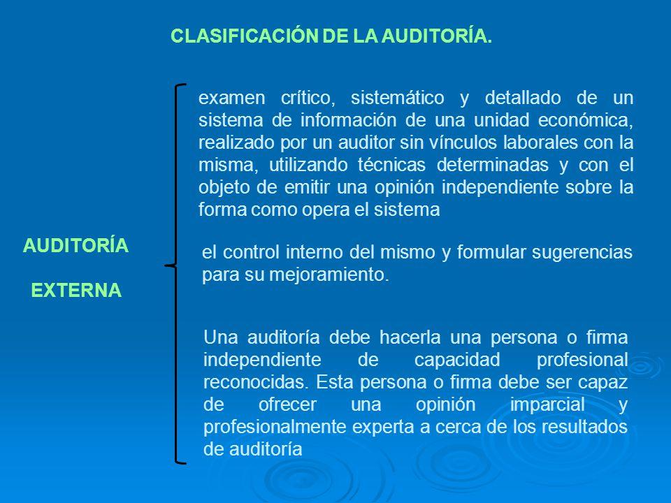 CLASIFICACIÓN DE LA AUDITORÍA. AUDITORÍA EXTERNA examen crítico, sistemático y detallado de un sistema de información de una unidad económica, realiza