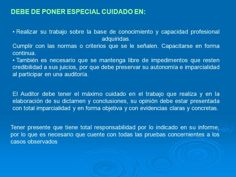 DEBE DE PONER ESPECIAL CUIDADO EN: Realizar su trabajo sobre la base de conocimiento y capacidad profesional adquiridas. Cumplir con las normas o crit
