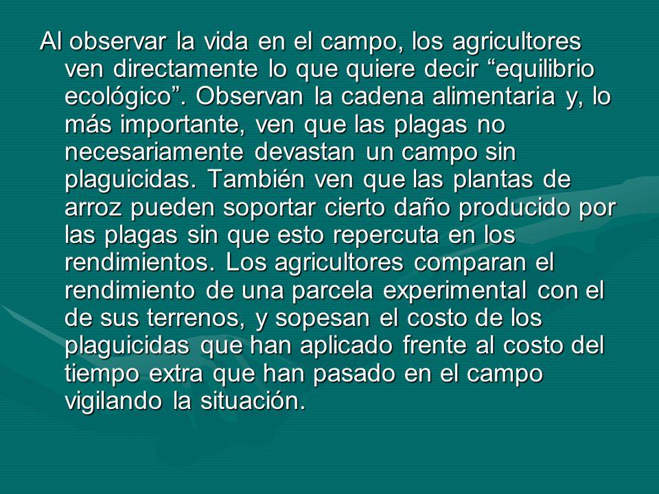 Al observar la vida en el campo, los agricultores ven directamente lo que quiere decir equilibrio ecológico. Observan la cadena alimentaria y, lo más