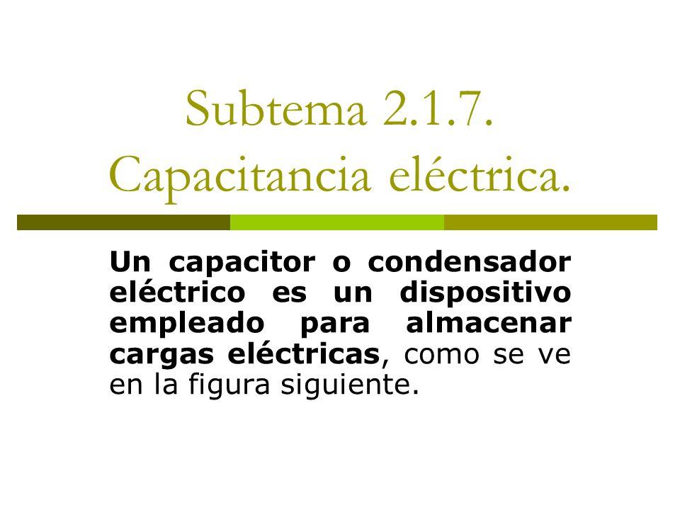 Subtema 2.1.7. Capacitancia eléctrica. Un capacitor o condensador eléctrico es un dispositivo empleado para almacenar cargas eléctricas, como se ve en