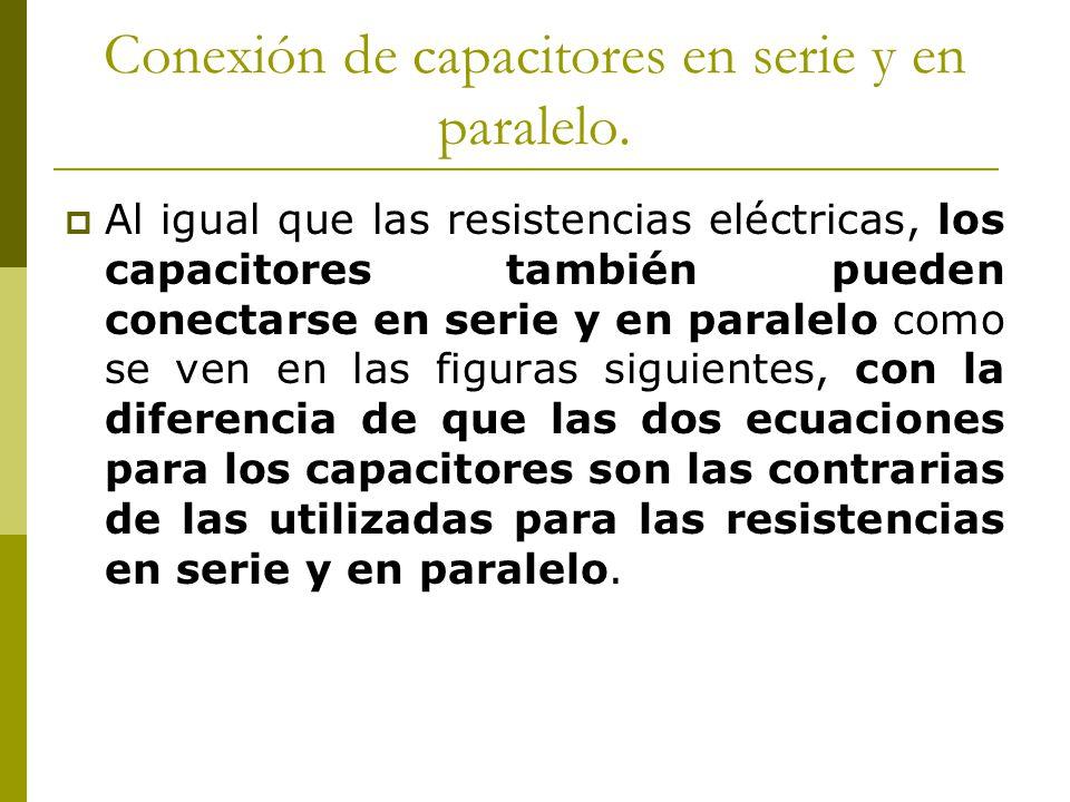 Conexión de capacitores en serie y en paralelo. Al igual que las resistencias eléctricas, los capacitores también pueden conectarse en serie y en para