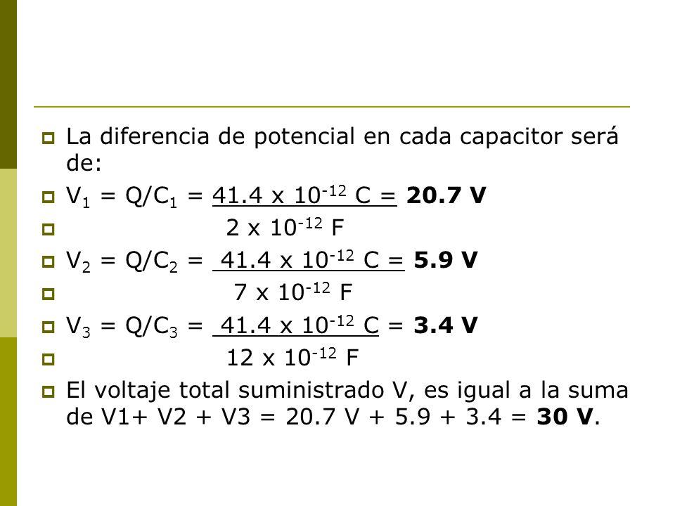 La diferencia de potencial en cada capacitor será de: V 1 = Q/C 1 = 41.4 x 10 -12 C = 20.7 V 2 x 10 -12 F V 2 = Q/C 2 = 41.4 x 10 -12 C = 5.9 V 7 x 10