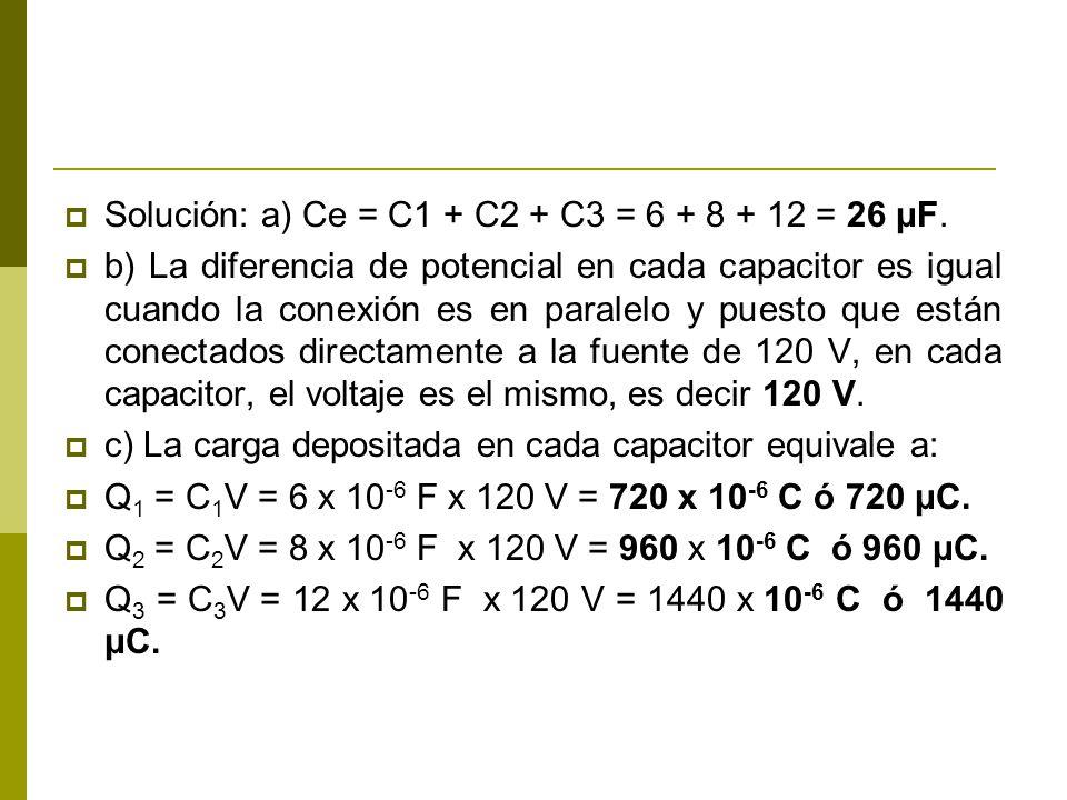 Solución: a) Ce = C1 + C2 + C3 = 6 + 8 + 12 = 26 μF. b) La diferencia de potencial en cada capacitor es igual cuando la conexión es en paralelo y pues