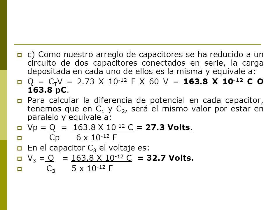 c) Como nuestro arreglo de capacitores se ha reducido a un circuito de dos capacitores conectados en serie, la carga depositada en cada uno de ellos e