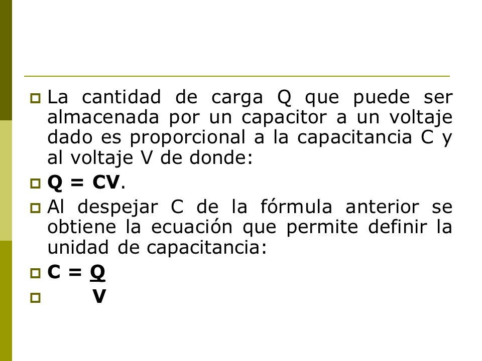 La cantidad de carga Q que puede ser almacenada por un capacitor a un voltaje dado es proporcional a la capacitancia C y al voltaje V de donde: Q = CV