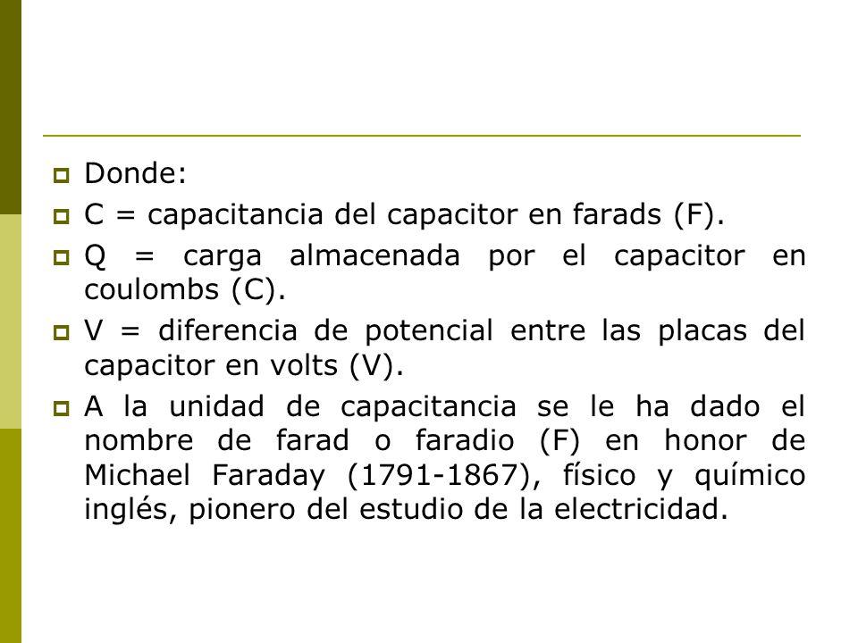 Donde: C = capacitancia del capacitor en farads (F). Q = carga almacenada por el capacitor en coulombs (C). V = diferencia de potencial entre las plac
