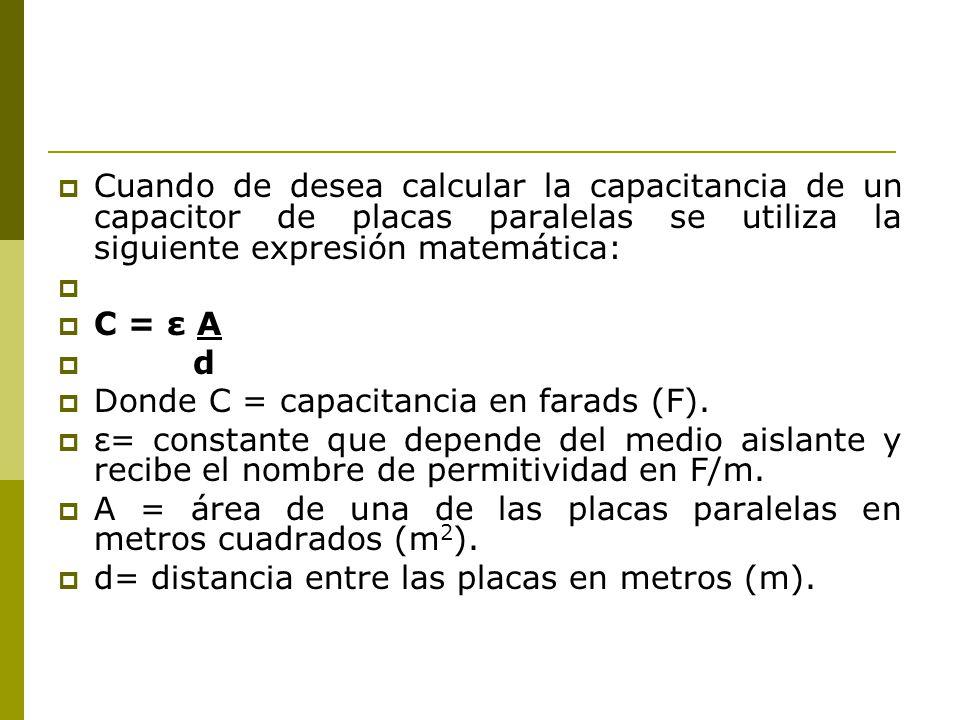 Cuando de desea calcular la capacitancia de un capacitor de placas paralelas se utiliza la siguiente expresión matemática: C = ε A d Donde C = capacit