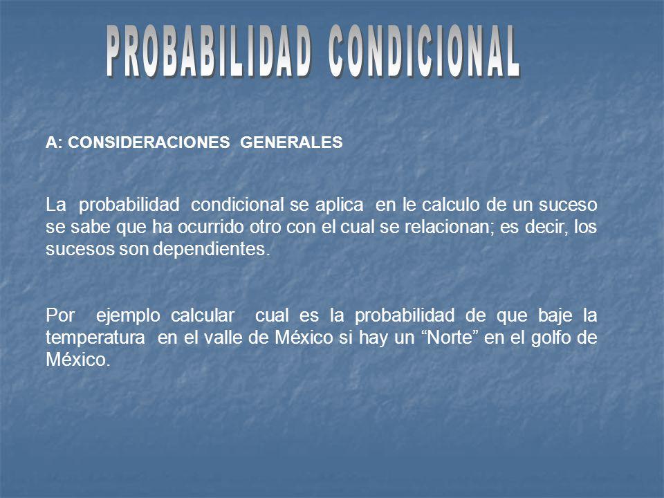 A: CONSIDERACIONES GENERALES La probabilidad condicional se aplica en le calculo de un suceso se sabe que ha ocurrido otro con el cual se relacionan; es decir, los sucesos son dependientes.