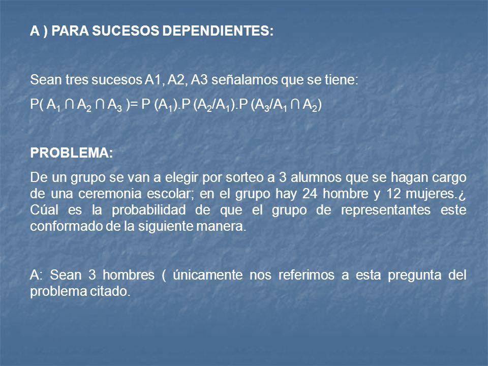 A ) PARA SUCESOS DEPENDIENTES: Sean tres sucesos A1, A2, A3 señalamos que se tiene: P( A 1 A 2 A 3 )= P (A 1 ).P (A 2 /A 1 ).P (A 3 /A 1 A 2 ) PROBLEMA: De un grupo se van a elegir por sorteo a 3 alumnos que se hagan cargo de una ceremonia escolar; en el grupo hay 24 hombre y 12 mujeres.¿ Cúal es la probabilidad de que el grupo de representantes este conformado de la siguiente manera.
