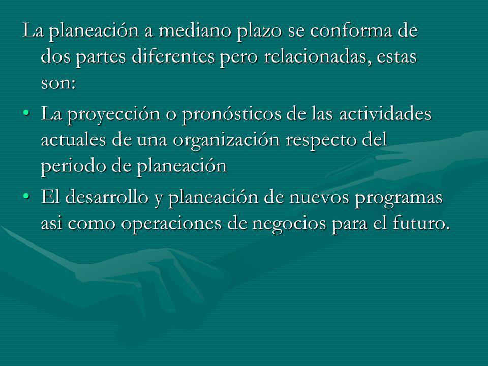 La planeación a mediano plazo se conforma de dos partes diferentes pero relacionadas, estas son: La proyección o pronósticos de las actividades actual