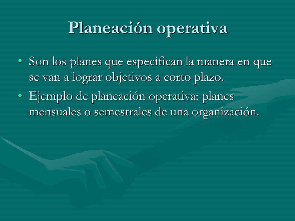 Planeación operativa Son los planes que especifican la manera en que se van a lograr objetivos a corto plazo.Son los planes que especifican la manera