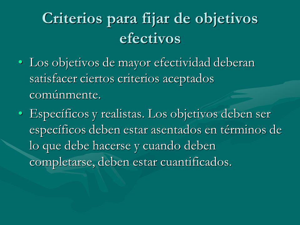 Criterios para fijar de objetivos efectivos Los objetivos de mayor efectividad deberan satisfacer ciertos criterios aceptados comúnmente.Los objetivos